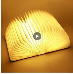 Arts Books Australia - Big Size Portable USB Wooden Folding Book Lamp LED Night Light Art Decorative Lights Desk Wall Magnetic Lamp Warm White