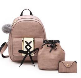 Pink Velour Set Australia - Amberler Women PU Leather Backpacks High Quality School Bags For Teenage Girls Travel Bag New Ladies Shoulder 3 Pieces Set Bag