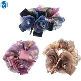 Crystal Heads Australia - Mism Fantasy Flower Elastic Head Hair Band Accessories Elegant Women Ribbon Bow Headband Yarn Floral Crystal Hair Rope Gumming