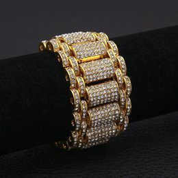 $enCountryForm.capitalKeyWord UK - Hip Hop Full Rhinestones Bling Iced Out Rapper Bracelet Gold Silver Watch Band Link Chain Bracelets Bangles for Men Jewelry