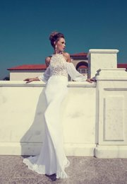 Wholesale new summer stylish dresses resale online – 2020 New Stylish High Neck Long Sleeves Lace Off shoulder Wedding Dress Julie Vino Sexy Backless Sheath Long Bridal Gown