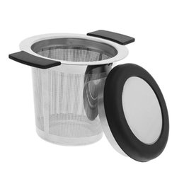 handle baskets wholesale UK - Reusable Stainless Steel Tea Infuser Basket Fine Mesh Tea Strainer With 2 Handles Lid and Coffee Filters for Loose Tea Leaf