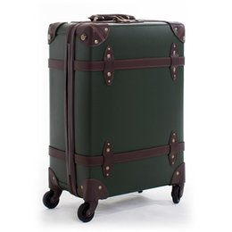 Spinner Carrying Case Australia - Retro Rolling Luggage travel Suitcase set Spinner 24inch Women Trolley case Wheel 28inch PU Travel Bag Man 20inch Carry On Trunk
