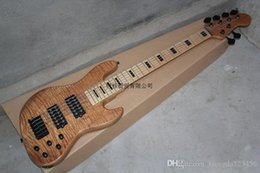 Discount electric bass pickups - Free shipping Wholesale maple neck Earth logo 6 string bass Burlywood electric bass with active pickups