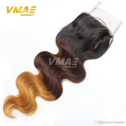 brazillian part closures UK - New Brazillian Body Wave Lace Closure 4x4 Free Middle Part Color 1B 4 27 30 Ombre Human Hair Brazilian Body Wave Top Closure