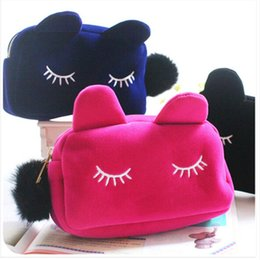 Coin bag korean online shopping - Cute Portable Cartoon Cat Coin Storage Case Travel Makeup Flannel Pouch Cosmetic Bag Korean and Japan Style Colors