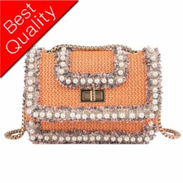 pearl silk cream NZ - 2019Hand-woven Candy Color Women Straw pearl Bag Ladies Small Shoulder Bags Bohemia Beach Bag Crossbody Bags Travel Handbag Tote