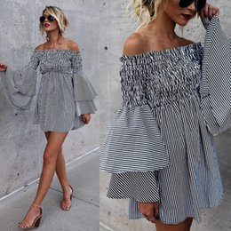 22fbf3e5c73 Women s Vintage Floral Lace Half Sleeve Off Shoulder Stripe Ladies Casual Long  Sleeve Boat Neck Cocktail Formal Swing Dress 2019