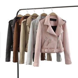 $enCountryForm.capitalKeyWord UK - 2018 New Autumn Witner Women Motorcycle Faux PU Leather Red Pink Jackets Lady Biker Outerwear Coat with Belt Hot Sale 6 Color