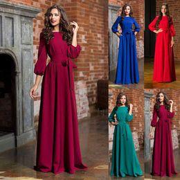 Wholesale winter clothes for plus size ladies resale online - Elegant Women Dress Autumn Casual Plus Size Clothes High Waist Crew Neck Solid Long Arm Bow Dress For Office Lady Y19071001