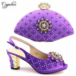 $enCountryForm.capitalKeyWord Australia - Designer New European Style Rhinestone Shoes And Evening Bag Set Fashion Woman Purple High Heel Shoes And Bag Set For Wedding Tx-722