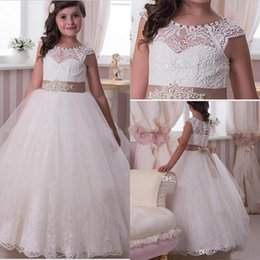 White Communion Dresses Short Australia - Hot Sale Charming Lace Girls Holy Communion Dresses With Cap Sleeve Jewel Neck Buttons Back Bow Belt Applique Kids Wedding Gowns