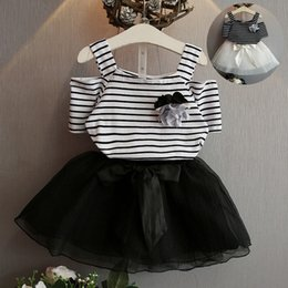 Tops Girl Shirt Design Australia - new design baby girls dress set striped short-sleeved T-shirt top tee + lace skirt 2pcs girl clothing set children boutiques clothes