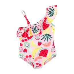 baby ruffle floral romper NZ - Summer Swimming Suit For Toddler Kid Baby Girl Print Ruffles Straps One Pieces Swimsuits Romper Clothes Bathing Suit Biquini