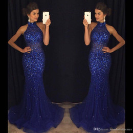See Through Prom Dresses Rhinestones Australia - 2017 Mermaid Navy Blue Prom Dresses High Neck Full Rhinestone See Through Tulle Evening Party Gown Formal Dresses