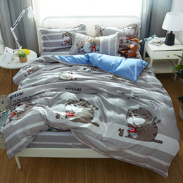 Wholesale chocolate fat for sale – custom Fat Cat Bedding Set Queen Size Cartoon Creative Lovely Duvet Cover Grey King Twin Full Single Soft Bed Cover with Pillowcase