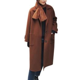 Cotton Autumn Cashmere Cardigan UK - Womens Autumn Winter High Quality Jacket Casual Outwear Parka Cardigan Slim Coat Solid Color Overcoat Woollen Overcoat