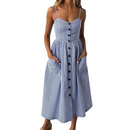 d940273ad Mulheres Azul Vestido Listrado Vertical 2019 Moda Verão Botões Frente  Bolsos Vestidos de Cinta Vestidos De Playa   BF