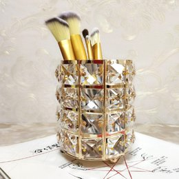 $enCountryForm.capitalKeyWord NZ - Manufacturer Direct European Crystal Makeup Brush Storage Bucket Eyebrow Pencil Comb Finishing Storage Box Sign the Pen Holder