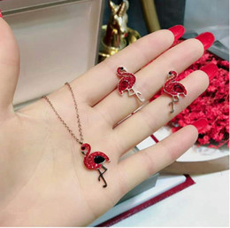 $enCountryForm.capitalKeyWord Australia - European and American fashion new good luck titanium steel jewelry Personalized flamingo necklace bracelet earrings set does not fade