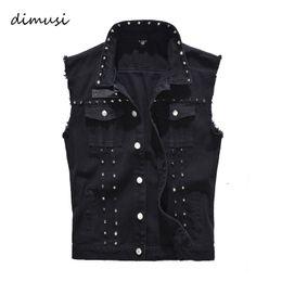 China DIMUSI Spring Autumn Mens Vest Vintage Denim Jeans Vest Male Black Sleeveless Jackets Men Rivet Hole Jeans Waistcoats 5XL,TA338 cheap vintage rivets suppliers