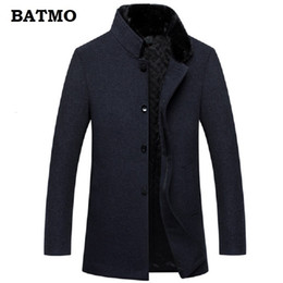 men coat high collar wool Australia - BATMO 2018 new arrival high quality 60% wool natural mink fur collar thicked trench coat men,winter warm wool parkas CJ191129