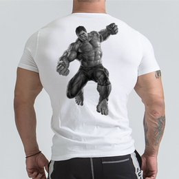 hulk printed t shirts Canada - Marvel Hulk T Shirt Avengers Printed Short Sleeve T-shirts Men Gyms Workout Tee Cotton Fitness Clothing 2018 Male Crossfit Tops Y19050803