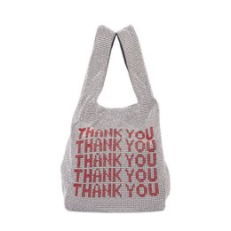 China Thank you sequins Bags Women Small Tote Bags Crystal Bling bling Fashion Lady Bucket Handbags Vest Girls Glitter Purses Brand supplier white plaid bag tote suppliers