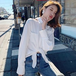 61738ef65c01ff Lace Up Bow Tie Shirt Long Lantern Sleeve Women New 2019 Spring White  Backless Cold Shoulder Shirts Blouses Blusa Chemise Camisa