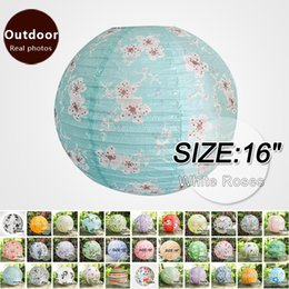 Chinese lantern birthday party online shopping - 16 quot White Roses Chinese New Year Paper Lanterns home decorations Birthday Party Festive Outdoor Activities lampshade hanging lantern