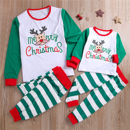 $enCountryForm.capitalKeyWord Australia - Christmas family matching outfits christmas kid letter long sleeve T-shirt Pajama+striped trousers two piece set kids designer clothes JY642