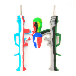 $enCountryForm.capitalKeyWord UK - Smoking Pipe Bong wholesale AK47 shape Nectar Collector+15ml Skull Container Portable Pipe with Titanium Tip Dab Straw Oil Rigs Pipe For Wax