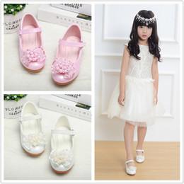 $enCountryForm.capitalKeyWord UK - Girl's Closed Toe Leatherette High Heel Flower Girl Shoes With Imitation Pearl Flower big kids dancing shoes 707-2