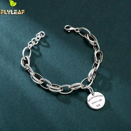 925 thick silver bracelet online shopping - Flyleaf Round Tag Letter Love Thick Chain Real Sterling Silver Bracelets For Women Fine Jewelry Bracelets Bangles Vintage