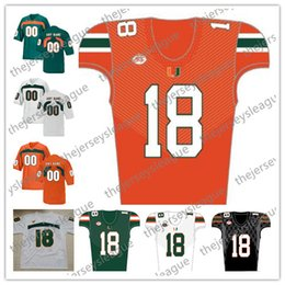 Wholesale Custom Miami Hurricanes Any Name Number Green Orange White Stitched Tate Martell Ed Reed NCAA College Football Jersey