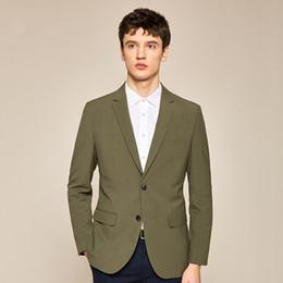 Slim Fit Green Suit Australia - Olive Green Men Wedding Tuxedos Notch Lapel Slim Fit Groom Tuxedos New Style Dress Men Business Dinner Darty Suit(Jacket+Pants+Tie) 1882