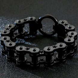 mens stainless steel bracelets 18mm Canada - 132G Heavy Stainless Steel Bicycle Motorcycle Chain Bracelet Men 18MM Wide Mens Friendship Star Bracelets Hiphop Biker Jewelry