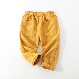 45 pants online shopping - Children Casual Pants Boy girl Solid Color Open Trousers Rubber Band Baby Big Pocket Straight Casual Pants