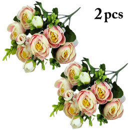 brides flower bouquet artificial Canada - 2pcs 30cm Rose Pink Silk Bouquet Peony Artificial Flowers 9 Big Heads Bride Wedding Home Decoration Fake Flowers
