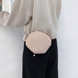 Discount luxury chain crossbody handbag - shell bags for women 2019 luxury evening sequins handbags lady mini chain shoulder bag designer girl pearl pendant cross