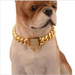 gold lids NZ - NEW Pet Collar Stainless Steel Dog Collar Gold Plated Curb Cuban Chain Dog Training Walking Necklace for Small Large Dogs