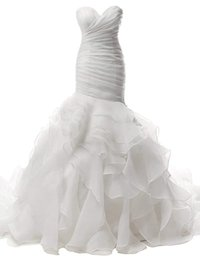 Wedding Dresses Plus Size Brides UK - HI'LIAN Wedding Dress Mermaid Strapless Bridal Dresses Ruffles Wedding Gown Sweetheart Bride Dress Trumpet Organza Custom Plus Size