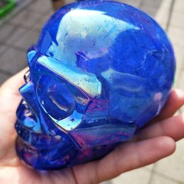 feng shui natural quartz crystals NZ - Natural Quartz Crystals Blue,Red,Pink Plated Skull Reiki Healing Feng Shui Stone Home Ornament Art collect
