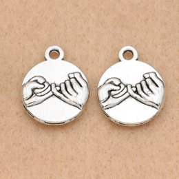 $enCountryForm.capitalKeyWord NZ - pendant findings 10pcs Tibetan Silver Plated Pinky Swear Promise Charm Pendant Making Bracelet Diy Jewelry Findings 18x15mm