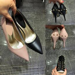 Pointing Nude Women Shoes Australia - 3A Sale- luxury designer women shoes rivet elements decoration high heels 9.5cm Nude black Leather Pointed Toes Pumps Dress shoes sandals