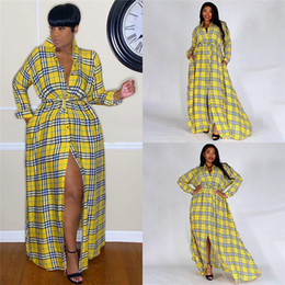 $enCountryForm.capitalKeyWord Australia - Fashion Womens Maxi Dresses Vintage Lapel Neck Long Sleeve Sashes Yellow Plaid Dress Fashion Casual Women Apparel