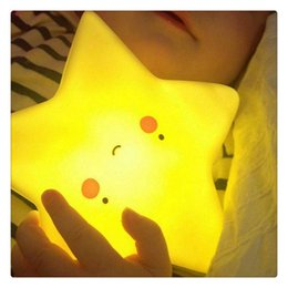 $enCountryForm.capitalKeyWord Australia - Soft Vinyl LED Night Light Cute Star Smile Face Soft Fashion Toy for Baby Kids Bedroom Home Decoration Nursery Lamp