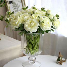 $enCountryForm.capitalKeyWord NZ - Yo Cho 11 Pcs lot Artificial Peony Bouquet Flores Artificiales Rose Flower Silk Flowers For Home Wedding Autumn Decoration T8190626