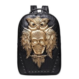 High Quality Backpack Brands Australia - wholesale brand personality package 3D stereo backpack stone ghost punk fashion high quality leather backpack solid rivet cool schoolbag
