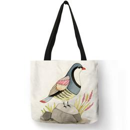 Peacock Bags Australia - Customize Peacock Birds Art Print Eco Linen Tote Bag For Women Folding Reusable Shopping Bags Fabric Handbags